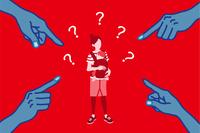 指さされる若い母親 女性差別 コンセプトアート