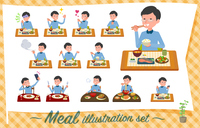 flat type Blue clothing glass dad_Meal