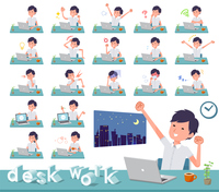 flat type White short sleeved men_desk work