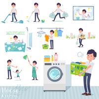 flat type White short sleeved men_housekeeping