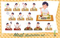 flat type White short sleeved men_Meal