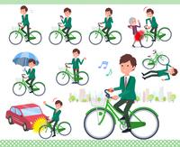 flat type school boy Green Blazer_city cycle