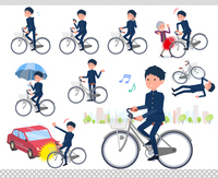 flat type school boy gakuran_city cycle