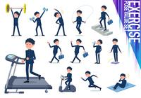 flat type school boy gakuran_exercise