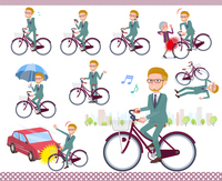 flat type blond hair businessman_city cycle