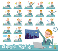 flat type blond hair businessman_desk work