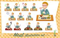 flat type blond hair businessman_Meal