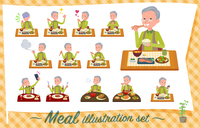 flat type Green vest old man_Meal