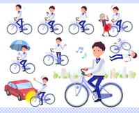 flat type Store staff Blue uniform men_city cycle