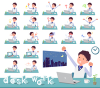 flat type Store staff Blue uniform men_desk work