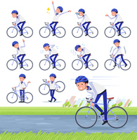 flat type Store staff Blue uniform men_road bike