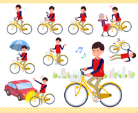 flat type Store staff red uniform men_city cycle