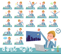 flat type Jacket Short pants men_desk work