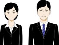 スーツ姿の若い男女のイラスト