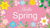春の草花のフレーム 文字入り ハロースプリング ピンク色背景