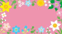 春の草花のフレーム ピンク色背景