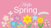 春の野花 文字入り ハロースプリング ピンク色背景