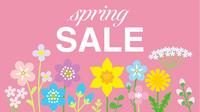 春の野花 文字入り スプリングセール ピンク色背景