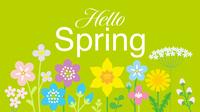 春の野花 文字入り ハロースプリング 黄緑色背景