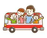 観光バス 家族 手描き風