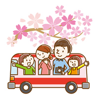 観光バス 家族 桜