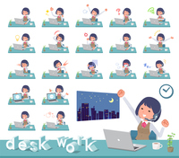 flat type Call center women_desk work