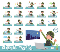 flat type military wear women_desk work