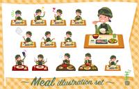 flat type military wear women_Meal