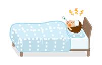 発熱してベッドで寝込む10代の男性 - 全身