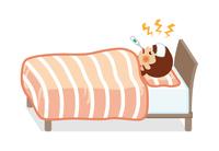 発熱してベッドで寝込む10代の女性 - 全身
