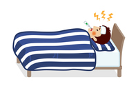 発熱してベッドで寝込む若い男性 - 全身