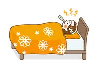 発熱してベッドで寝込む女性 - 全身 輪郭線あり