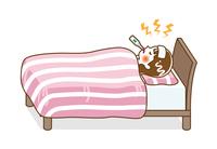発熱してベッドで寝込む若い女性- 全身 輪郭線あり