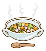 温かい野菜スープとスプーン 輪郭線あり