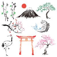 日本のインクデザインのシンボルセット