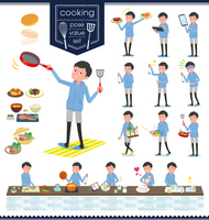 flat type dad Blue sportswear_cooking