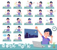 flat type men blue sportswear_desk work