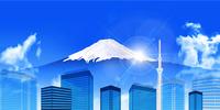 富士山 東京 ビル 背景