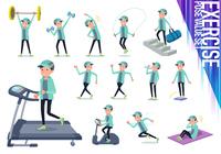 flat type man Blue green Sportswear_exercise