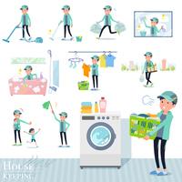 flat type man Blue green Sportswear_housekeeping