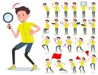 flat type men yellow sportswear_Action