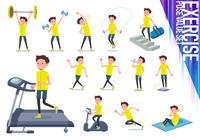 flat type men yellow sportswear_exercise