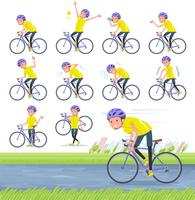 flat type men yellow sportswear_road bike