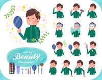 flat type school boy green jersey_beauty