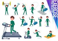 flat type school boy green jersey_exercise