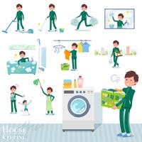 flat type school boy green jersey_housekeeping