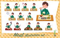 flat type school boy green jersey_Meal