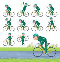 flat type school boy green jersey_road bike