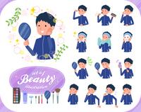flat type school boy Blue jersey_beauty