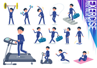 flat type school boy Blue jersey_exercise